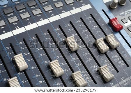 Professional audio mixing console. Recording studio equipment.  - stock photo