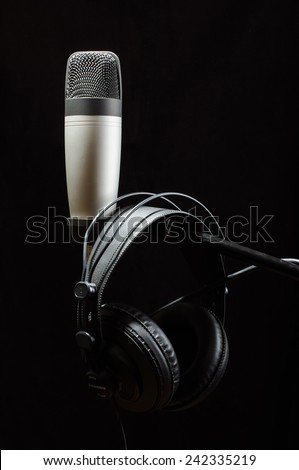 Professional audio recording equipment isolated - stock photo