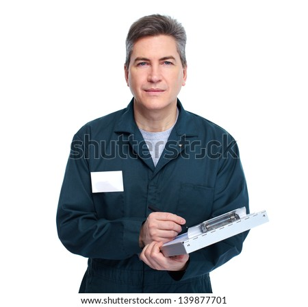 Professional Auto mechanic. Isolated on white background. - stock photo