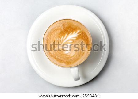 professional barista coffee cup on marble table - stock photo