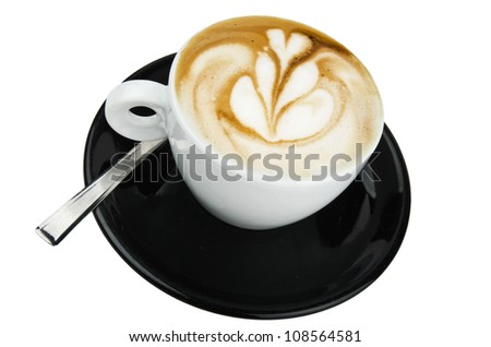 Professional barman design the cappuccino with tulip flower - stock photo
