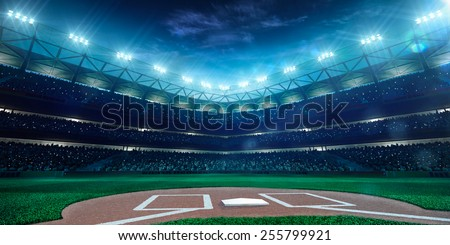 Professional baseball grand arena in the night - stock photo