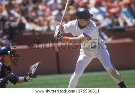 Professional Baseball player Will Clark up at bat, Candlestick Park, CA - stock photo