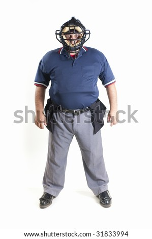 Professional baseball umpire on white background - stock photo