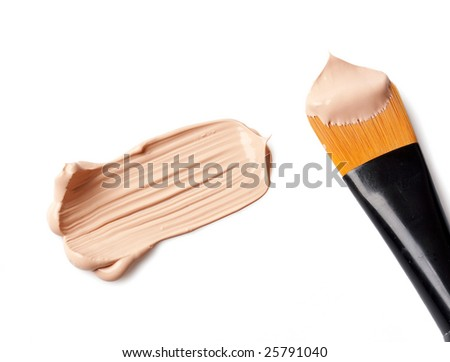 professional brush and foundation sample on white - stock photo