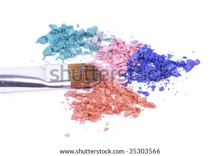 Professional brush for make-up on crushed shadows - stock photo