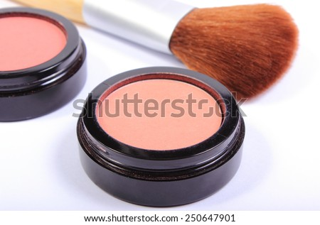 Professional brush for makeup and cosmetics for woman, womanly cosmetics accessories - stock photo