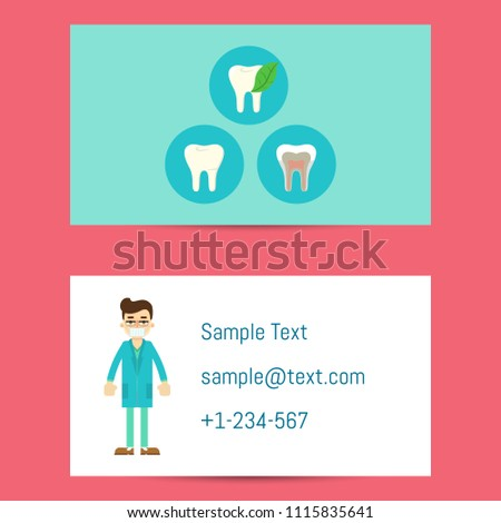 Professional business card template dentists cartoon stock professional business card template for dentists with cartoon man in blue medical uniform and round teeth reheart Image collections