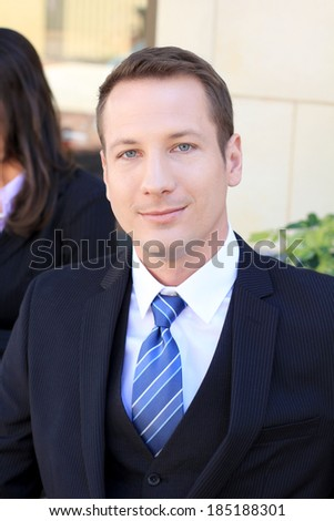Professional Business Man Wearing a Suit and Blue Tie Smiling Executive CEO  - stock photo
