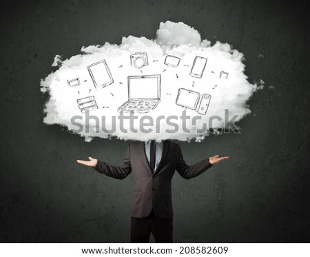 Professional business man with cloud network head concept - stock photo
