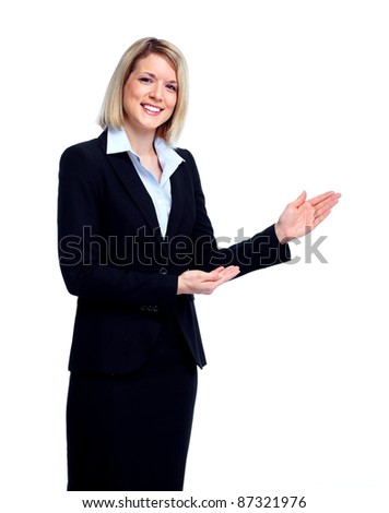 Professional business woman in black suit. Isolated over white background.