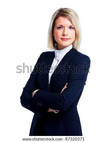 Professional business woman. Isolated over white background. - stock photo