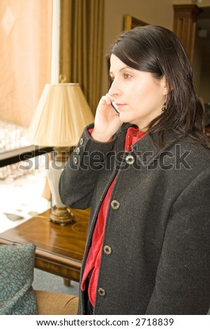 professional business woman talking on the phone - stock photo