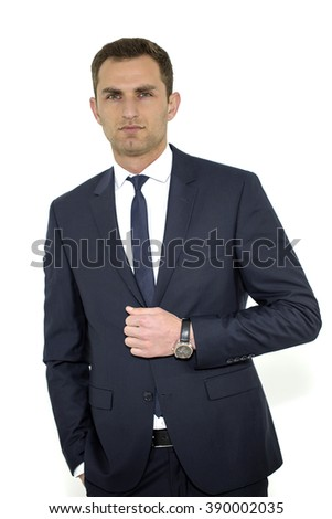 Professional businessman in a white background. Portrait of handsome stylish man in elegant black suit.  - stock photo