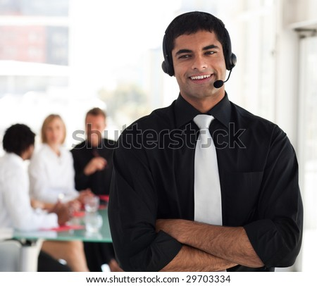 Professional businessman speaking on a headset