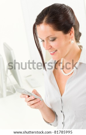 Professional businesswoman attractive calling close-up portrait
