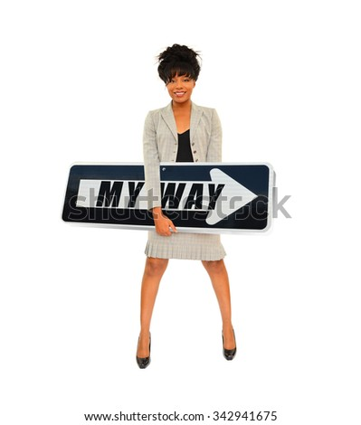 Professional Businesswoman holding One Way Arrow Traffic Sign isolated on white background - stock photo