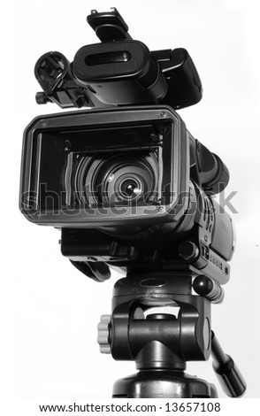 professional camcorder isolated on white