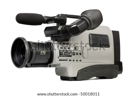 Professional camcorder isolated on white background - stock photo