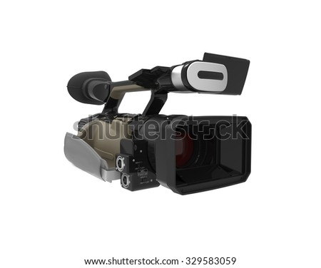 Professional camcorder isolated on white background. 3d illustration.
