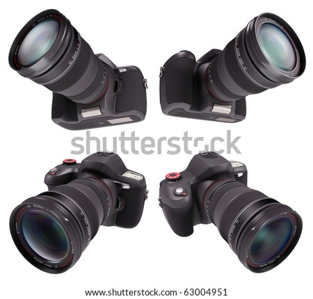 Professional camera over white. Exclusive Design (Design Concept). - stock photo