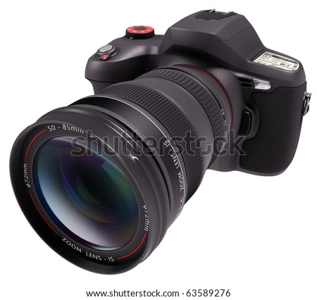 Professional camera over white. Exclusive Design (Design Concept). - stock photo