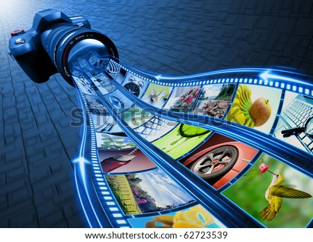 Professional Camera takes pictures. The film strip of pictures enter through the lens. Exclusive Design (Design Concept). - stock photo