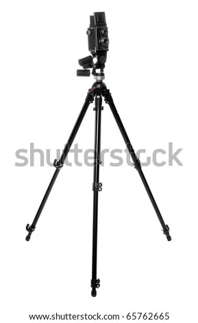 Professional camera with tripod on a white background. - stock photo