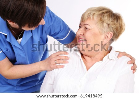 Professional caregiver with a senior woman.