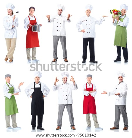 Professional chef baker group. Isolated over white background.