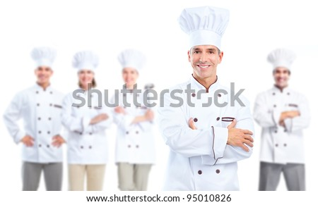Professional chef baker group. Isolated over white background. - stock photo