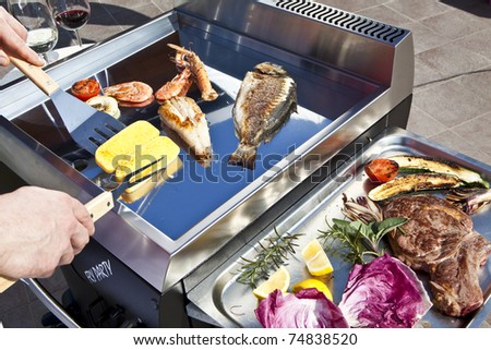 professional chef cooking fish on a barbeque - stock photo
