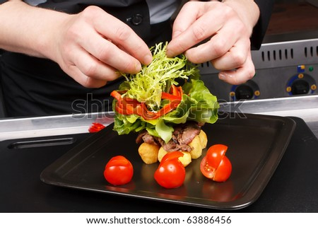 professional chef garnish tasty dish - stock photo
