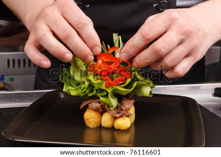 professional chef garnish tasty dish - stock photo