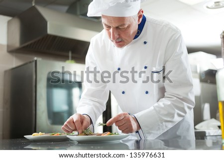 Professional chef garnishing a dish - stock photo