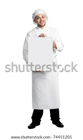 professional chef in white uniform and hat with blank board isolated - stock photo