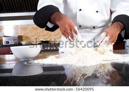 professional chef making dough - stock photo