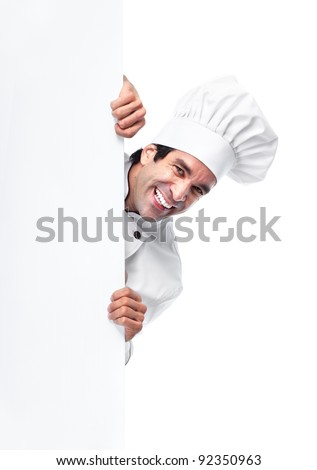Professional chef man. Isolated over white background - stock photo