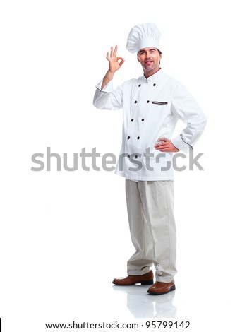 Professional chef man. Isolated over white background. - stock photo