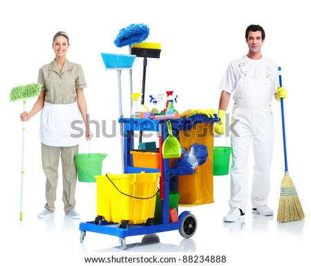 Professional cleaner man and woman with janitor cart. Isolated on white background.. - stock photo
