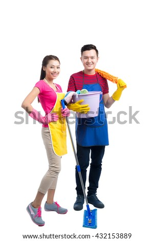 Professional cleaners team. Over white background. - stock photo