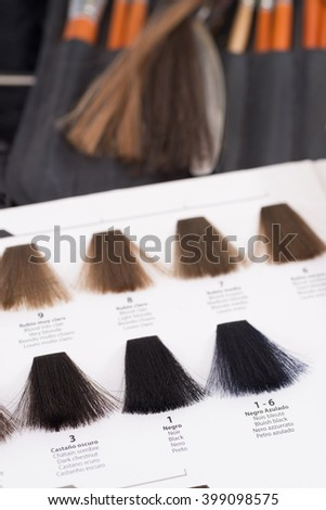 Professional color chart for hair dyeing against the background of hairdresser studio items - stock photo