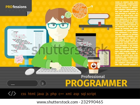 Professional concept with male computer programmer working on computer on his workplace with paper cup of coffee. Raster version - stock photo