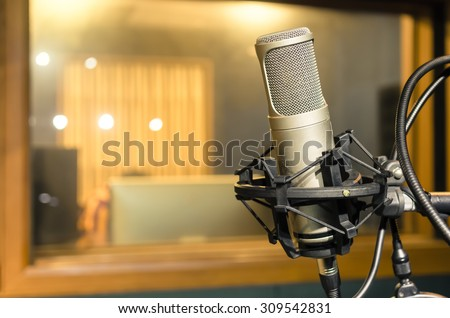 Professional condenser studio microphone, Musical Concept - stock photo