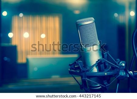 Professional condenser studio microphone, Musical Concept - stock photo