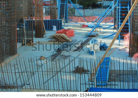 professional construction equipment formwork and reinforcement on site