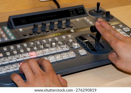 Professional controlled video production switcher the television broadcast. - stock photo