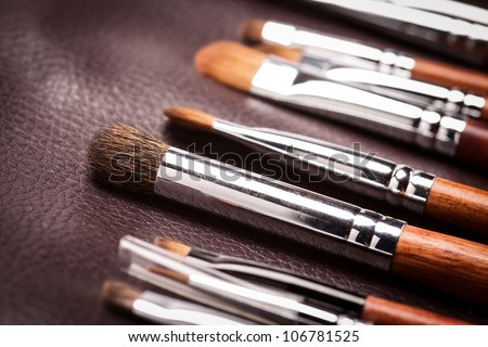 professional cosmetic brush on leather - stock photo