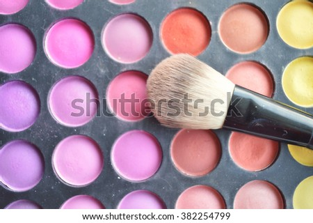 Professional cosmetics, palette with eyeshadow, make-up.Professional make-up tools, closed-up