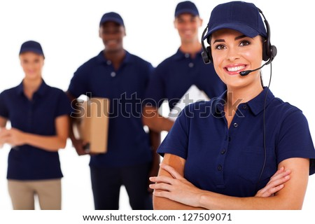 professional courier service dispatcher and staff - stock photo